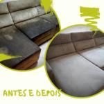 antes e depois lavagem de sofá